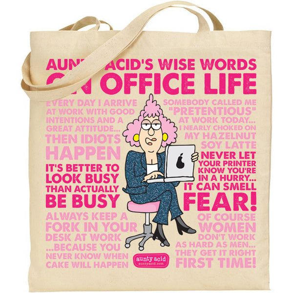 Aunty Acid Wise Words On Office Life Tote Bag - The Official Aunty Acid Store