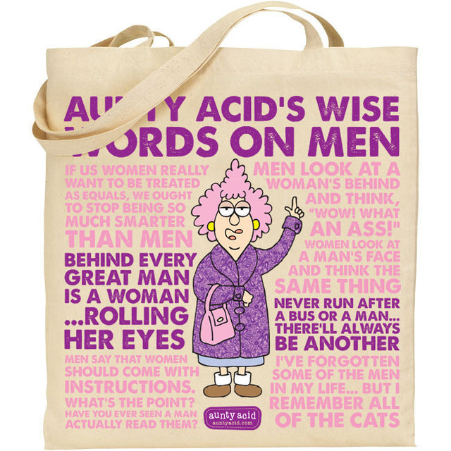 Aunty Acid  Words On Men Tote Bag - The Official Aunty Acid Store