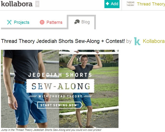 Kollabora feautred our Jedediah Shorts Sew-along DIY