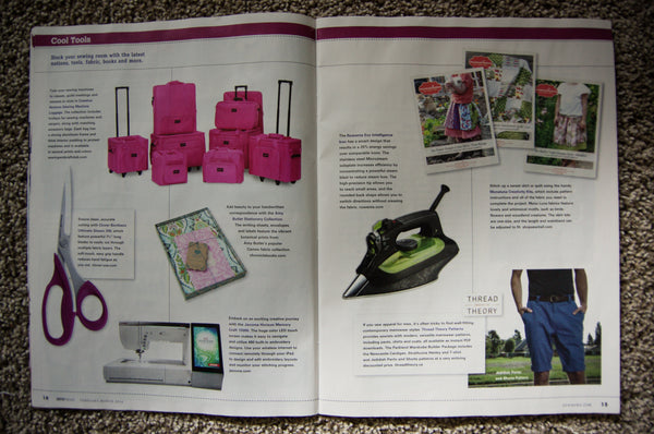 Tissue and PDF patterns featured in the Sew News magazine