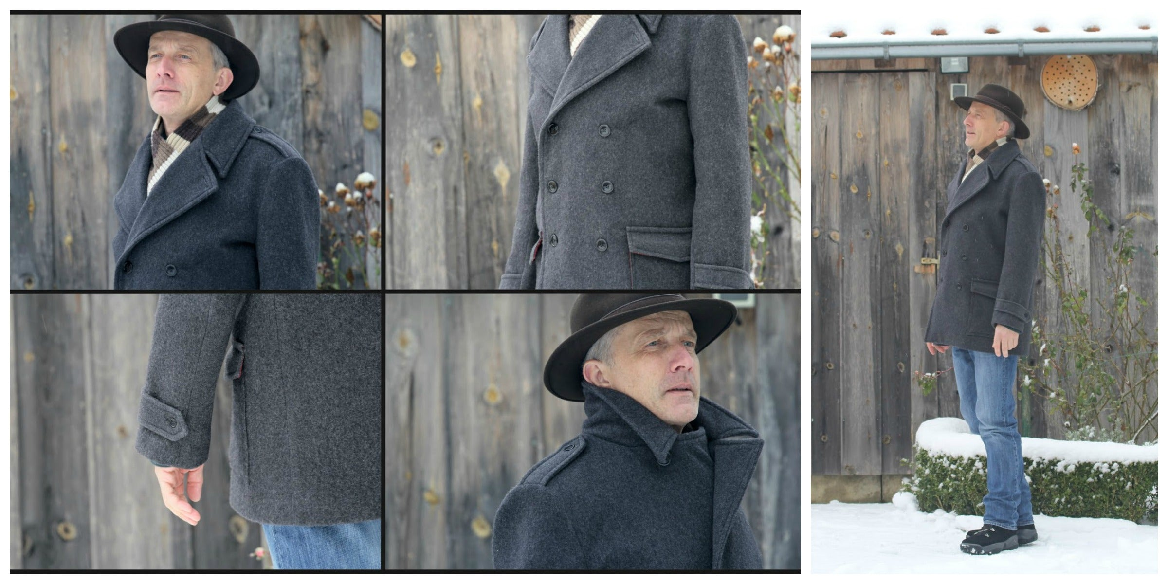 Goldstream Peacoat in Grey Wool