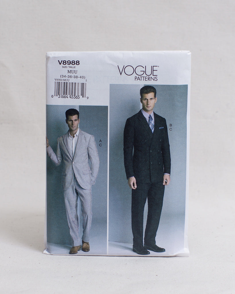 Vogue Patterns - V8988 Single and Double Breasted Suit