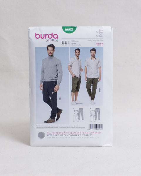 Burda Young Patterns - 6873 Men's Zip-off Cargo Pants