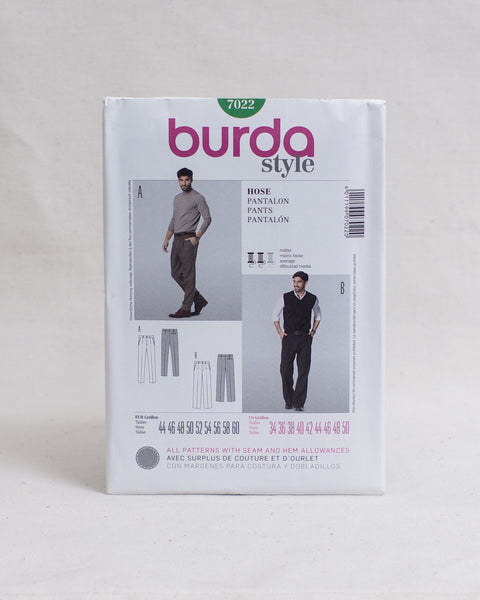 Burda Style Patterns - 7022 Men's Trousers