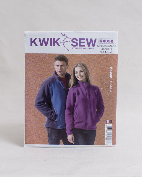 Kwik Sew Patterns - K4032 Men's and Women's Zip-up Jacket