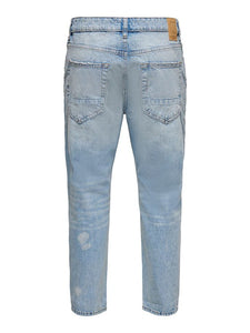 ONS AVI DAD FIT JEANS LIGHT BLUE DESTROYED