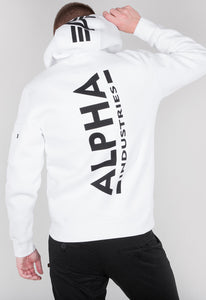 ALPHA INDUSTRIES BACKPRINT HOODIE WHITE BLACK
