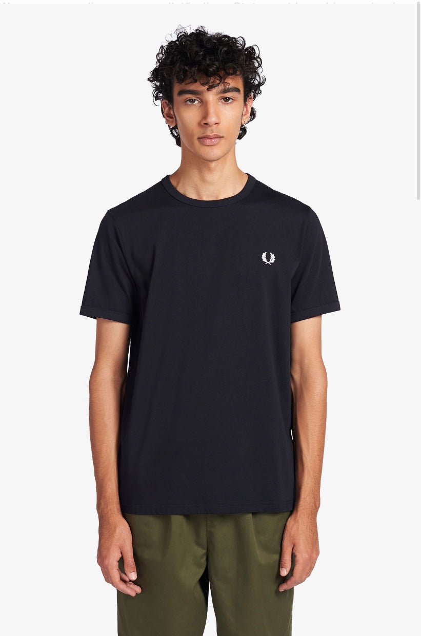 FRED PERRY RINGER T-SHIRT NAVY
