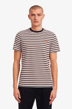 Laden Sie das Bild in den Galerie-Viewer, FRED PERRY FINE STRIPE T-SHIRT NAVY/RED/WHITE