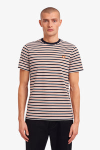 FRED PERRY FINE STRIPE T-SHIRT NAVY/RED/WHITE