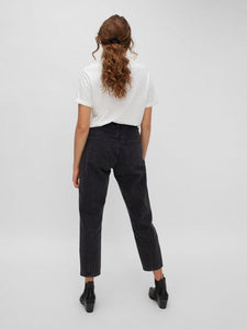 NM ISABEL HIGH WAIST ANKLE MOM JEANS GREY