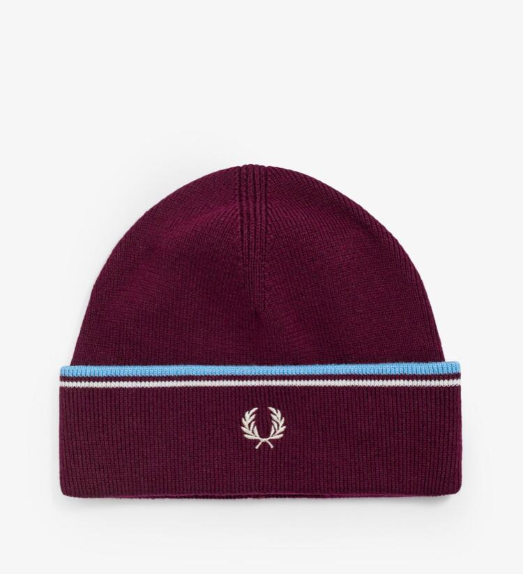 FRED PERRY MERINO WOOL BEANIE BORDEAUX