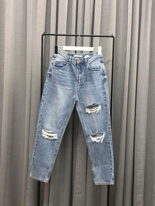 DESTROYED LOOK MOM JEANS