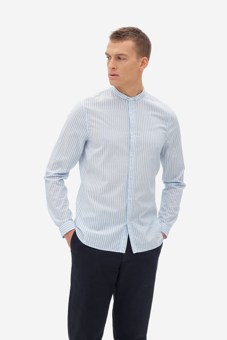 NOWADAYS SEERSUCKER STRIPE SHIRT BLUE / WHITE