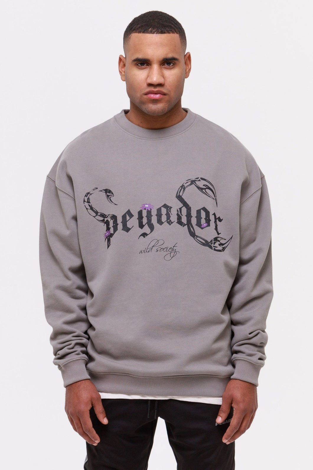 PEGADOR DEADWOOD OVERSIZED SWEATSHIRT WASHED FROST GREY