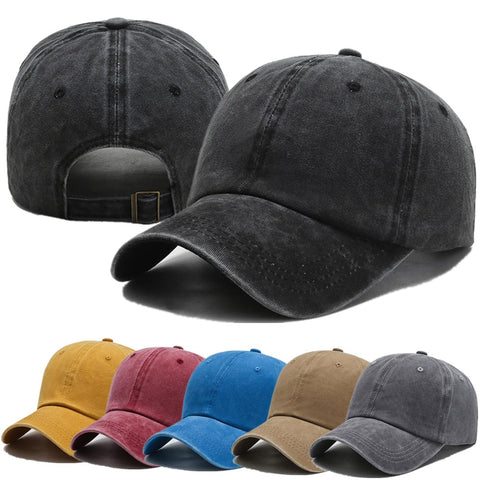 New Unisex Cap Plain Color Washed Cotton Baseball Cap Men & Women Casual Adjustable Outdoor Trucker Snapback Hats Dropshipping