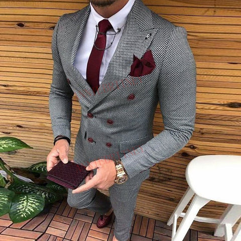 Men's Suit Coat + Pant Modern Classic Designs Double Breasted Men Slim Fit Fashion Wedding Suits for Men Prom Groom Tuxedo Jacket with Pants Set
