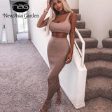 Two Piece Set Dress Women Ribbed Crop Top And Skirt Set