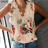 New Print Loose Lace V-neck Women Blouse Women Tank Tops  Sleeveless Women Ladies Top