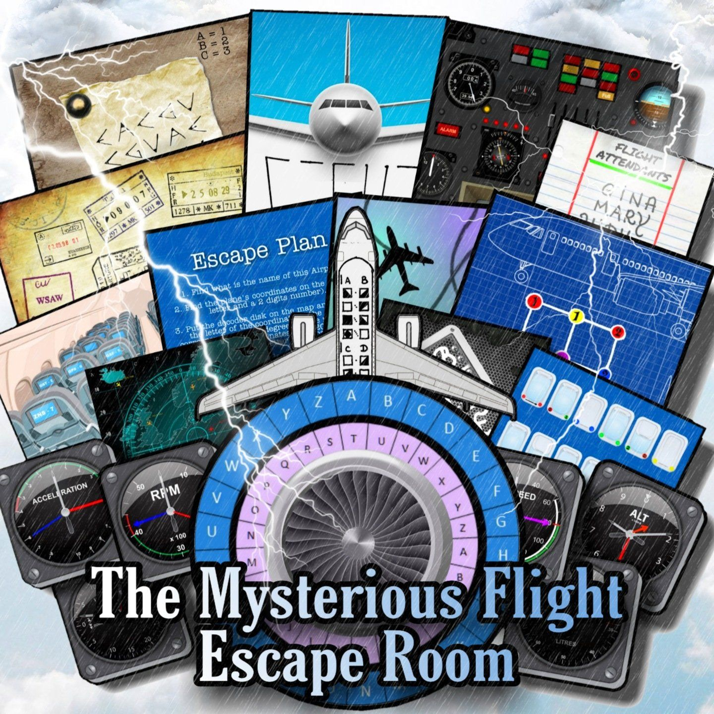 The Mysterious Flight Printable Escape Room Kit