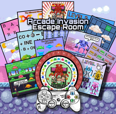Arcade Invasion Printable Escape Room Kit for Kids