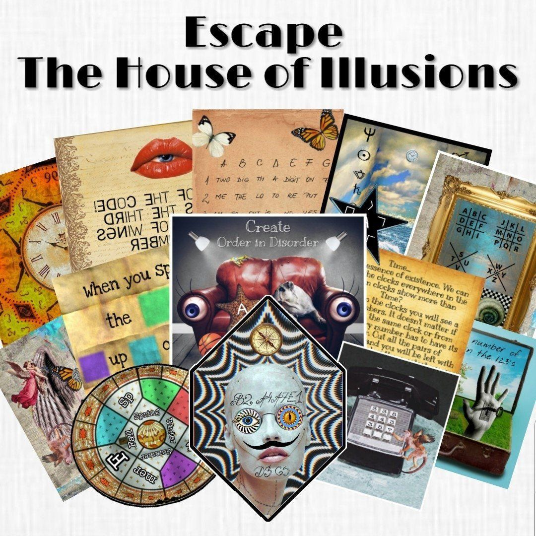 The House of Illusions | Printable Escape Room Kit - Mystery Locks