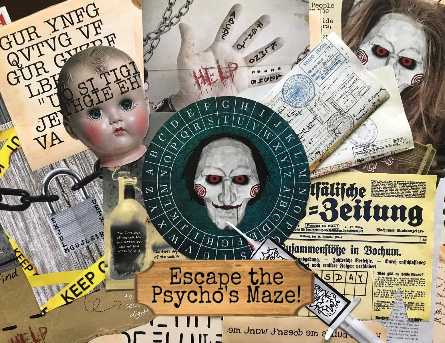 Escape The Psycho's Maze | Printable Escape Room Kit - Mystery Locks