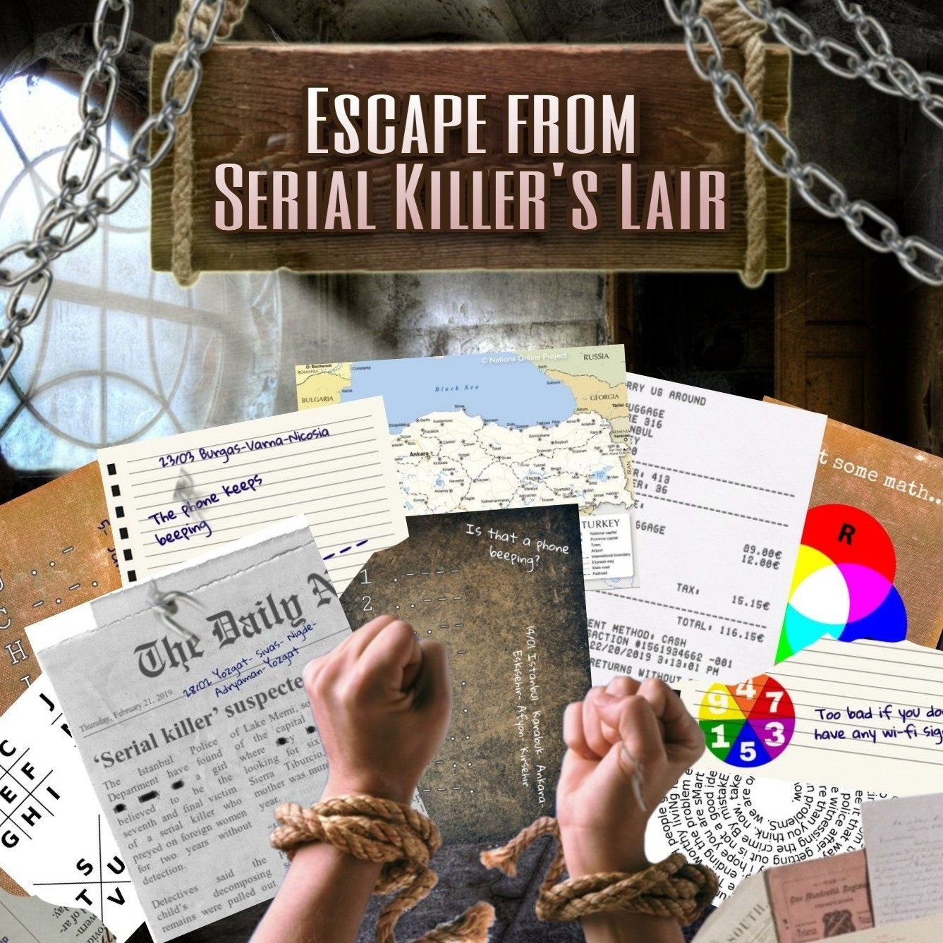Serial Killer's Lair | Printable Escape Room Kit - Mystery Locks