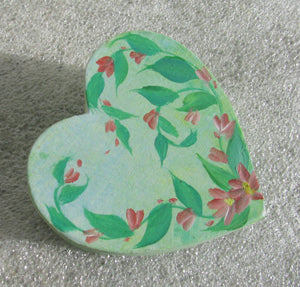 Heart shaped trinket box - Hand Painted