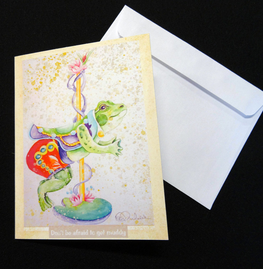 Muddy Frog Carousel Note Card