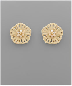 Flower Child Stud Earrings - Beige