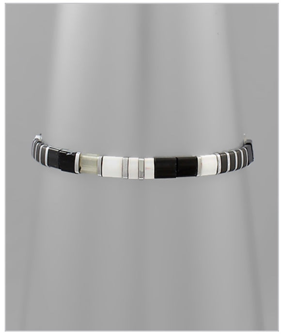 Bali Stretch Bracelet - Black/Silver