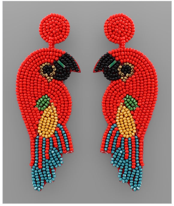 Lovebird Earrings - Red/Multi