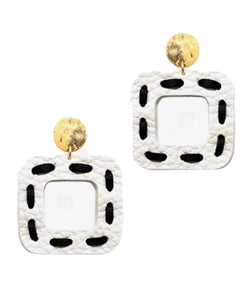 Stitch In Time Earrings - Black/White