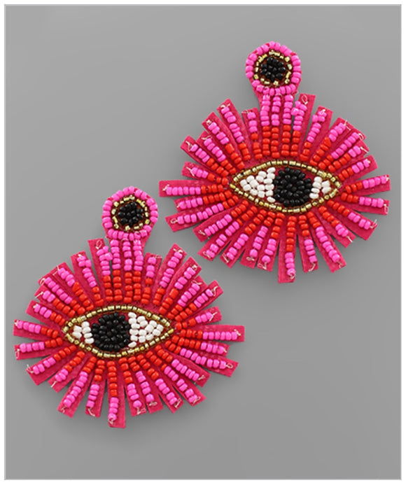 Pretty Eyes Earrings - Pink/Red