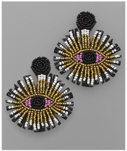 Pretty Eyes Earrings - Black/Pink