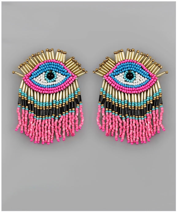 Eye Catcher Earrings - Hot Pink