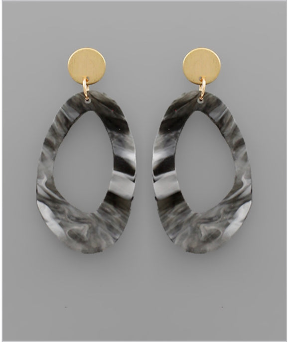 Sidney Earrings - Gray/Black Marble