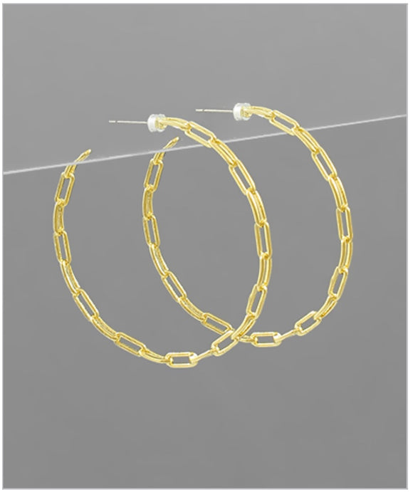 Merci Link Hoop Earrings - 14k Dipped