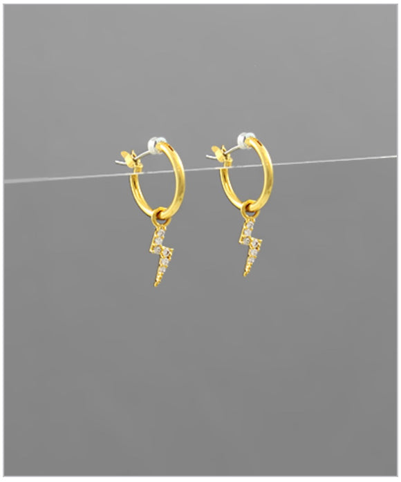 Lightning Huggie Earrings - 14k Gold Plated