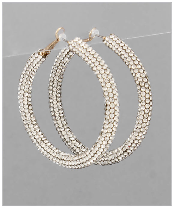 Crystal Hoop Earrings - Clear