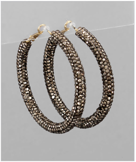 Crystal Hoop Earrings - Hematite