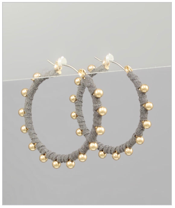 Bella Hoop Earrings - Gray