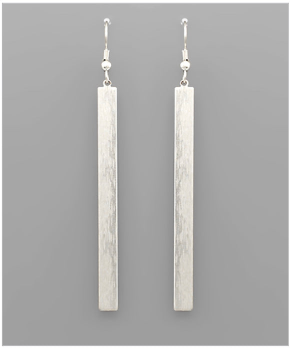 Tatum Bar Earrings - Matte Silver