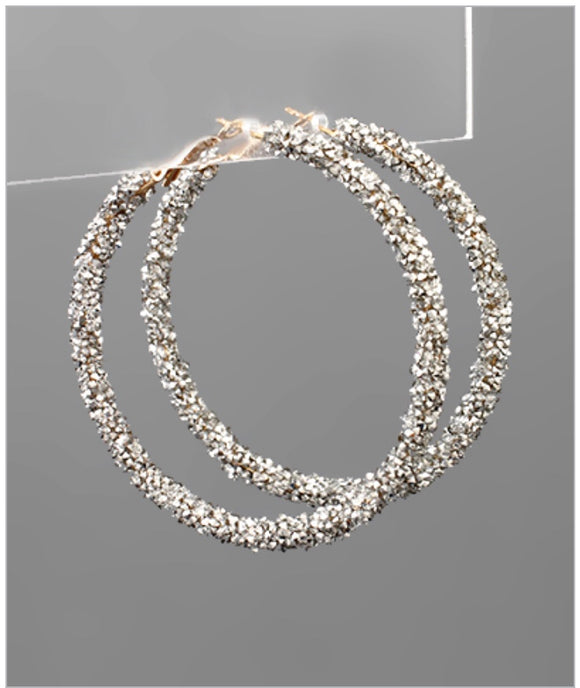 Glitter Hoop Earrings - Silver