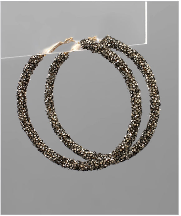 Glitter Hoop Earrings - Hematite