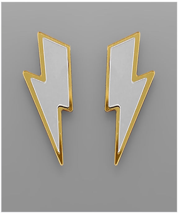 Mirror Lightning Earrings - Gold/Silver