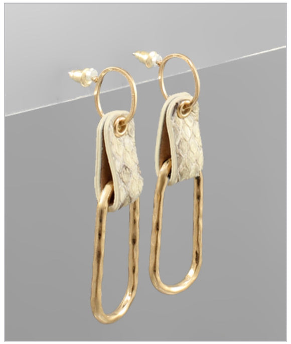 Annelise Earrings - Ivory Snakeskin