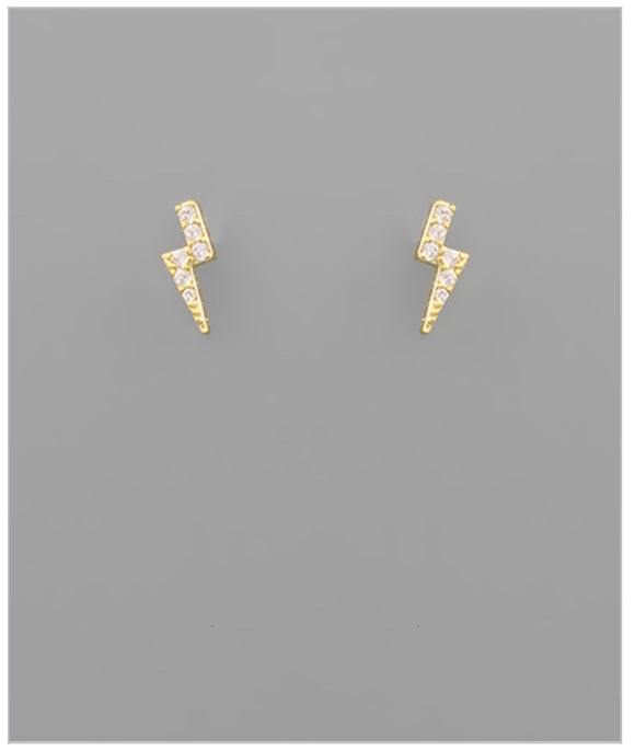 Lightning CZ Studs - 14k Gold Plated