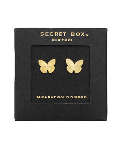 Butterfly Stud Earrings - Gold - 14K Gold Dipped